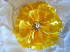Bright Yellow Satin Hair Flower/Bow by OliviasPretties on Etsy, $6.00