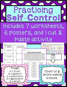 Activities to help students learn how to use self-control. They will learn what self-control means, and how to use it! More