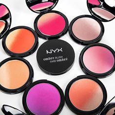 Nyx Cosmetics Ombré Blushes: Insta Flame, Mauve Me, Sweet Spring, Soft Flush, Code Breaker, Strictly Chic, Feel the Heat (not shown, Nude to Me)