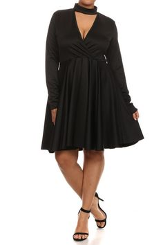 New year means new wardrobe! This sexy plus size dress features a mock neck with a cutout design, surplice neckline, skater skirt, and long sleeves.Item# 818592