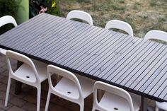 Love the IKEA SUNDERÖ gray wood outdoor dining table, don't like the chairs much. Outdoor Dining Chairs, Patio Table, Table And Chairs, Outdoor Tables, Wood Table, Ikea Patio, Ikea Table, Ikea Chairs, Small Outdoor Patios