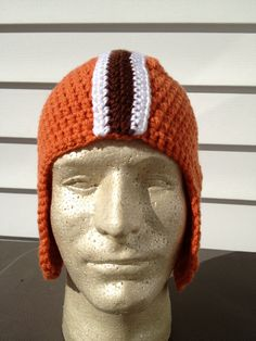 Crochet Cleveland Browns Football Helmet Hat by HeadToppersBSM....BUT  STEELERS PLEASE Cleveland e1d1de2d3