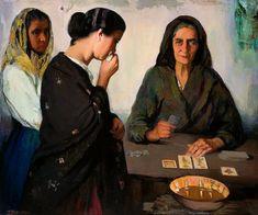 Fortune Teller by Francisco Soria Aedo Spanish artist Spanish Painters, Spanish Artists, Vintage Photography, Art Photography, Fortune Telling Cards, Triple Goddess, Fortune Teller, Tarot Readers, Rose