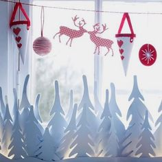 DIY christmas window decorations white paper trees deer ornaments