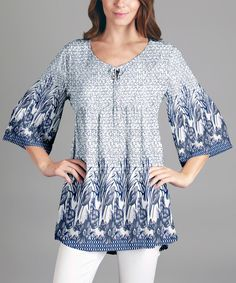 White & Blue Floral Bell-Sleeve Tunic - Plus by Sunflower #zulily #zulilyfinds