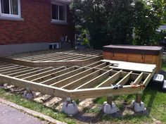 Two level deck Framing floating on Dek-Blocks.  This is actually my deck. :)