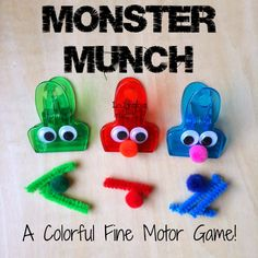 Monster Munch Fine Motor Skills Game: modify this any color clip. Add google eyes and use whatever pon poms and pipe cleaners you have. I can see this being an easy set up activity.  - repinned by @PediaStaff – Please Visit  ht.ly/63sNt for all our ped therapy, school & special ed pins