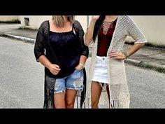 KIMONO DE CROCHÊ FACIL - YouTube Crochet Jacket, Crochet Cardigan, Crochet Doilies, Kimono Top, Crochet Patterns, Cover Up, Granny Squares, Jackets, Dresses