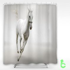 Cheap white horse run Shower Curtain