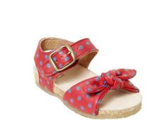 pepè, red leathe with light blue polka dots