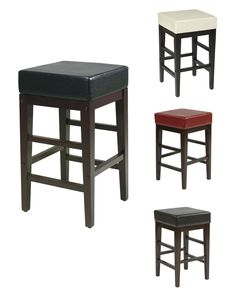 25H Seat Faux Leather Seat Wood Legs Bar Breakfast Counter Stool Chair -4 Colors - Bar Stools