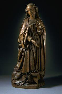 Vierge de l'Annonciation | LACMA collections Allemagne, Bas-Rhin, vers 1500 (?) Sculpture Bois de tilleul Hauteur: (87 cm) .