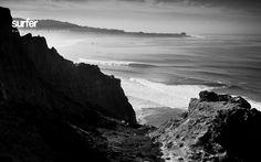 Beautiful BW ocean landscape