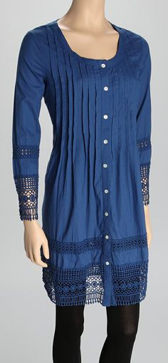 Blue Trim Button-Up Tunici i would rock this ..