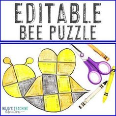 EDITABLE Bee Puzzle | Create your own Spring Activities on ANY topic! |  1st, 2nd, 3rd, 4th, 5th, 7th, 8th grade, Activities, English Language Arts, Fun Stuff, Games, Homeschool, Math, Middle School, Spring