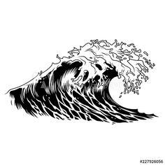 Nautical Logo, Nautical Design, Nautical Art, Japanese Waves, Japanese Prints, Ocean Wave Drawing, Ocean Tattoos, Sea Tattoo, Waves Sketch