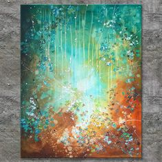 Annette Freymuth nettis-art LUMINOUS Acrylbild Gemälde Leinwand handgemalt Malerei Keilrahmen türkis XXL abstract painting turquoise rust water palette knife technique huge