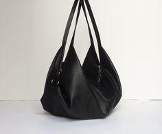 Black leather bag - Soft leather bag  - Slouchy leather bag  - DeLUNA bag