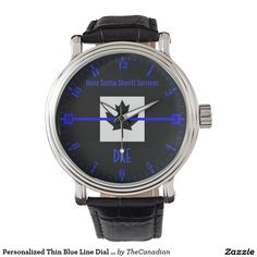 Personalized Thin Blue Line Dial on Canadian Flag Wristwatch