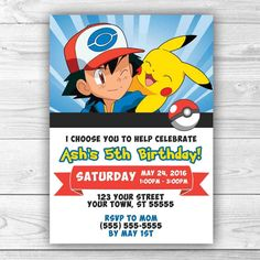 gorgeous diy pokemon party exactly luxury article. i added the party details to the card and added a photo of ava which i had edited to make her look hand drawn like a cartoon. pokemon invitation, pokemon go invitation, pikachu invitation, pokemon birthday…. pokemon birthday party...