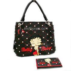 Betty Boop Black Embroider Rhinestone Red Satchel L Wallet Bag Handbag Purse Set - http://handbagscouture.net/brands/betty-boop/betty-boop-black-embroider-rhinestone-red-satchel-l-wallet-bag-handbag-purse-set/