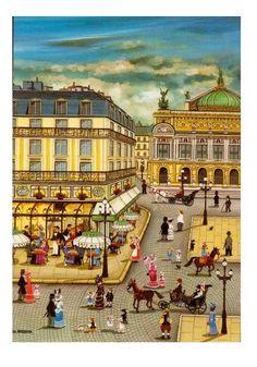 Poster Opera de Paris painting  joyous naive and by FolieduJour (Marion), $9.00