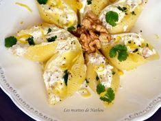 Conchiglioni farcis au chèvre et noix, sauce au beurre citronné à la coriandre