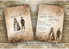Unique Victorian Themed Wedding Invitation by InvitationsbyJenna, $3.45