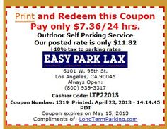 Los Angeles Airport Parking Coupons (LAX) Los Angeles Parking Coupon Results Click the coupon next to the companies below to get instant savings. For additional information about the car park and for reservations click the car park location. Check back for a new Los Angeles airport parking coupon since many of these are rotated in and out.