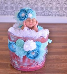Turquoise & Aqua Flower SASH - Pregnancy, Maternity, Infant, Baby Girl, Newborn