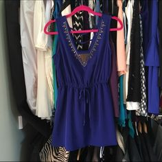 Royal Blue Dress Detailed neckline with a bow in the front. This was hemmed at the bottom and worn once. Perfect for someone 5'4 or shorter Dresses Mini