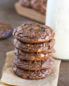 Best Fudgy Chocolate Brownie Cookies – Dessert Rezepte - New ideas Mini Desserts, Just Desserts, Delicious Desserts, Dessert Recipes, Yummy Food, Recipes Dinner, Dessert Food, Healthy Desserts, Best Cookie Recipes