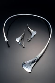 "Necklace  Earrings | Stephen Leblanc.  ""Ginkgo Set"".  Hand forged from silver."