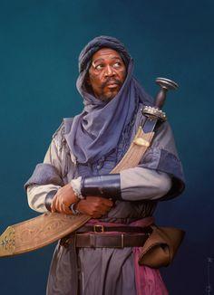 Morgan Freeman as Azeem in Robin Hood Prince of Thieves Drawn by euclase in PS. Larp, Songhai Empire, Character Inspiration, Character Design, Cinema, Morgan Freeman, Fantasy Male, Digital Portrait, Digital Art
