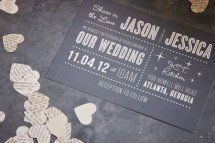 White on black wedding invitation