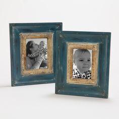 Catarina Gilt Frame Blue Gilt 4x6 | World Market
