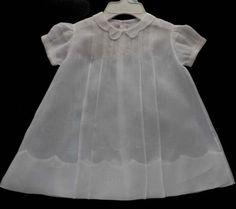 Beautiful Vintage White Batiste Baby Dress Christening