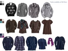Great suggestions for what to wear for a photoshoot, all by color pallet!