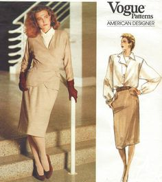 80s Geoffrey Beene Vogue Sewing Pattern 1770 Womens by CloesCloset