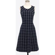 J.Crew Windowpane tweed dress ($90) ❤ liked on Polyvore featuring dresses, blue a line dress, blue dress, back zipper dress, lining dress and tweed dress