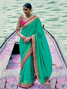 Green Silk Georgette Saree with Lace Work