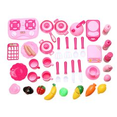 40pcs/set Pink Kitchen Food Cooking Role Play Pretend Toy Girls Baby Child,baby kid plastic kitchen toys play kitchen Xmas Gift