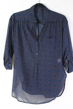 Polka Dot Chiffon Shirt in Navy.