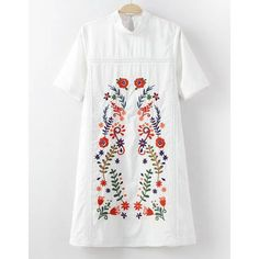 Sweet Stand Collar Embroidery Short Sleeve Dress For Women