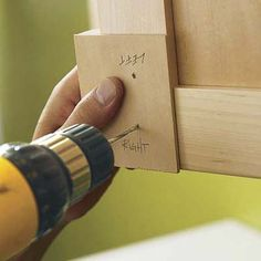 Tip: When drilling knob and pull holes, make a jig out of plywood to keep the hole placement consistent.