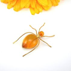 Baltic Amber Insect Brooch, Genuine Amber from Russia, Jelly Belly, Insect Pin, GP or GF, Vintage Jewelry, Ant Brooch