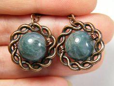 Framed Moss Agate bead earrings by NoStoneLeftUnturned on Etsy