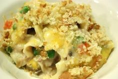 Casserole recipe: Best tuna and noodle casserole ever (I'm not kidding)! Add about a half cup of Parmesan Cheese while baking.