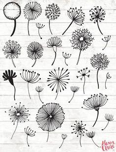 Dandelion Clipart - 28 Hand Drawn Dandelion Clock Cliparts - Seeds Clipart - Dandelion Logo Elements - Dandelion Illustration - 90 Get some adorable hand drawn dandelion clipart, perfect for logos, invitations, birthdays, weddings Doodle Art, Doodle Drawings, Zen Doodle, Hand Illustration, Leon Logo, Scrapbook Disney, Clock Clipart, Vector Clipart, Watercolor Clipart