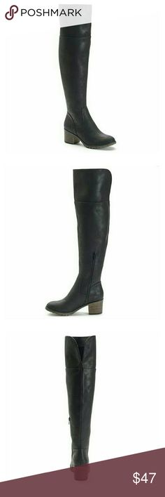 Black Over-The-Knee  Boots SO Women's Black Over-The-Knee Boots   These SO thigh high boots flaunt a soft faux-suede design with a trendy vintage feel.  BOOT FEATURES Over the knee styling Back cuff slit Lug forefoot Block heel  BOOT CONSTRUCTION Microsuede upper Manmade lining TPR outsole  BOOT DETAILS Round toe Zipper closure Padded footbed 2-in. heel 0.5-in. platform 21-in. shaft 15-in. circumference SO Shoes Over the Knee Boots